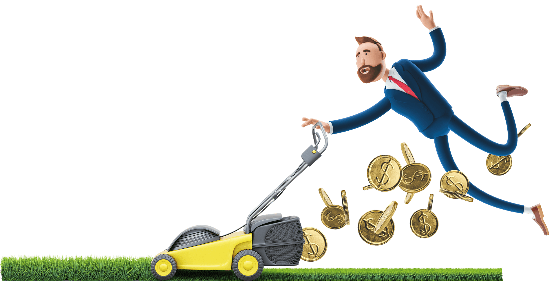 Billy mowing the grass for money